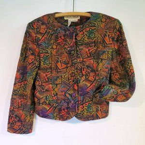 Quilted Shacket Della Spiga Vtg 80s 90s Colourful Button Front Jacket